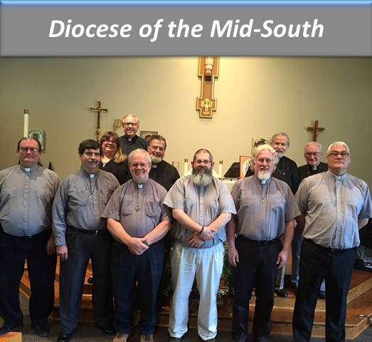 (Back row, left to right)  Rev. Kim Holman, Fayetteville; Father Dan Hale, Peachtree City; Dr. Robert Wills, Woodland; Father Charles Shores, Hogansville; Dr. James Taylor, Peachtree City. Not pictured- Bishop David Epps, Sharpsburg