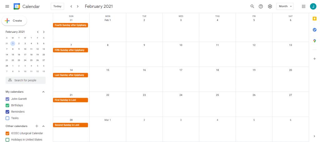 ICCEC Liturgical Google Calendar 1